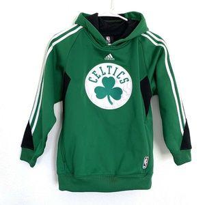 Adidas Boston Celtics Hoodie Kids Youth Medium Green White Pullover Basketball